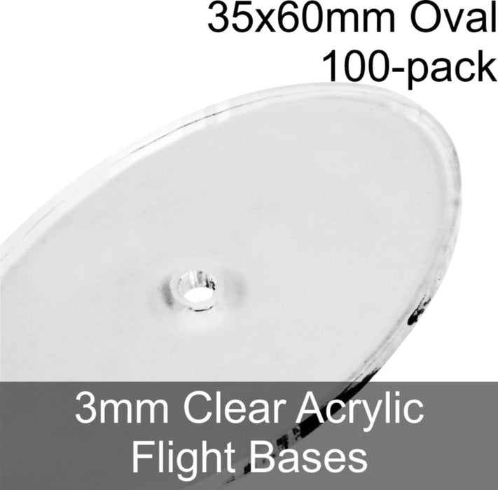 Flight Bases, Oval, 35x60mm, 3mm Clear (100) - LITKO Game Accessories