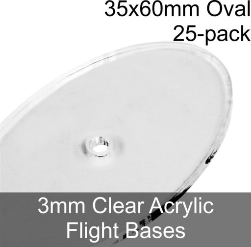 Flight Bases, Oval, 35x60mm, 3mm Clear (25) - LITKO Game Accessories