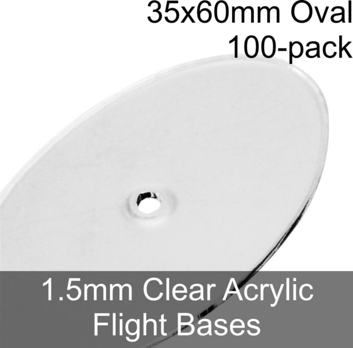 Flight Bases, Oval, 35x60mm, 1.5mm Clear (100) - LITKO Game Accessories