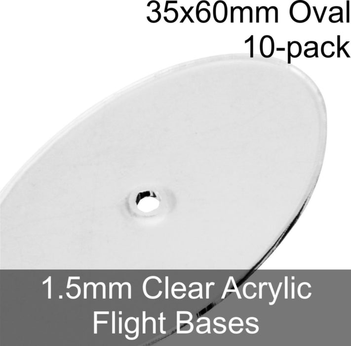 Flight Bases, Oval, 35x60mm, 1.5mm Clear (10) - LITKO Game Accessories