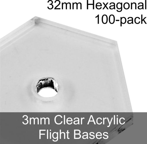 Flight Bases, Hexagonal, 32mm, 3mm Clear (100) - LITKO Game Accessories