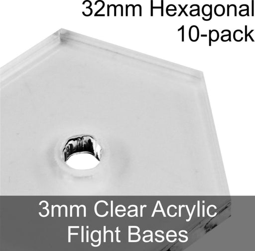 Flight Bases, Hexagonal, 32mm, 3mm Clear (10) - LITKO Game Accessories