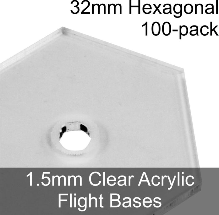 Flight Bases, Hexagonal, 32mm, 1.5mm Clear (100) - LITKO Game Accessories