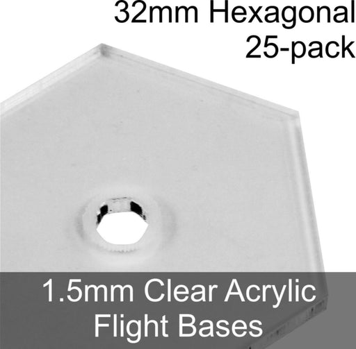 Flight Bases, Hexagonal, 32mm, 1.5mm Clear (25) - LITKO Game Accessories