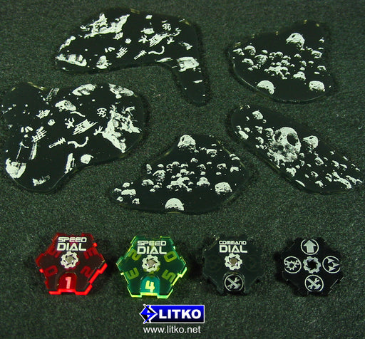 LITKO Asteroid Field Template Set Compatible with SW: Armada, Translucent Grey (3) - LITKO Game Accessories