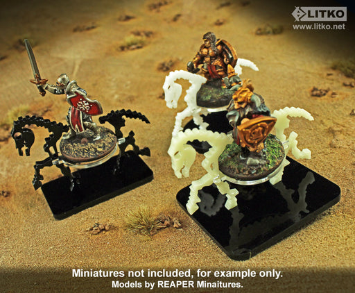 Skeletal Steed Character Mount with 40mm Circular Base, Black - LITKO Game Accessories