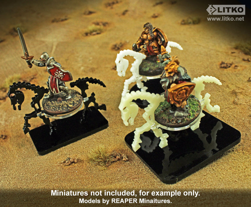 Skeletal Steed Character Mount with 2-inch Square Base, Black - LITKO Game Accessories