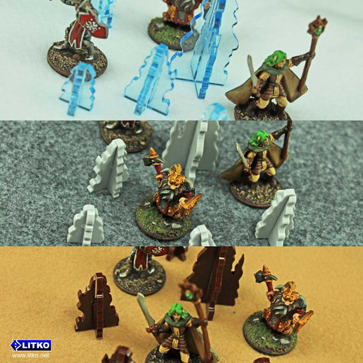 Stalagmite Terrain Marker Set, Transparent Light Blue  (5) - LITKO Game Accessories