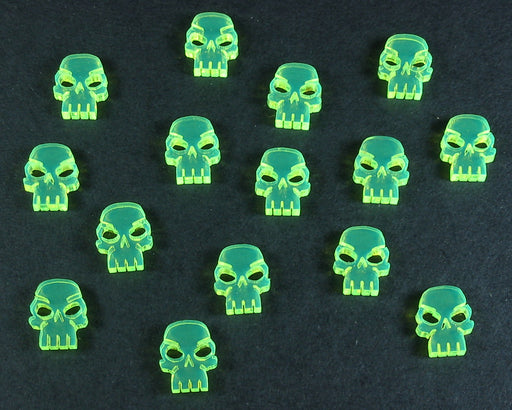 Mini Skull Tokens, Fluorescent Green (15) - LITKO Game Accessories