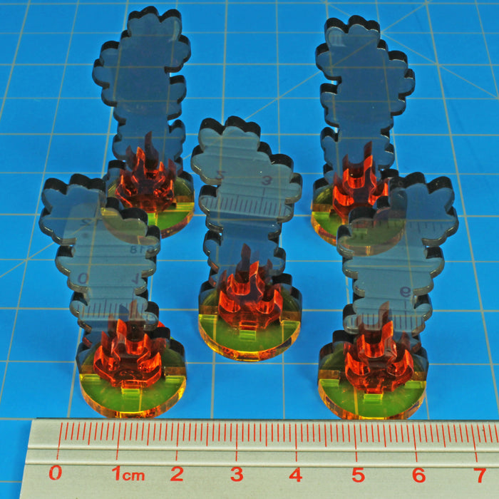 LITKO Flaming Wreckage Markers, Medium (5) - LITKO Game Accessories