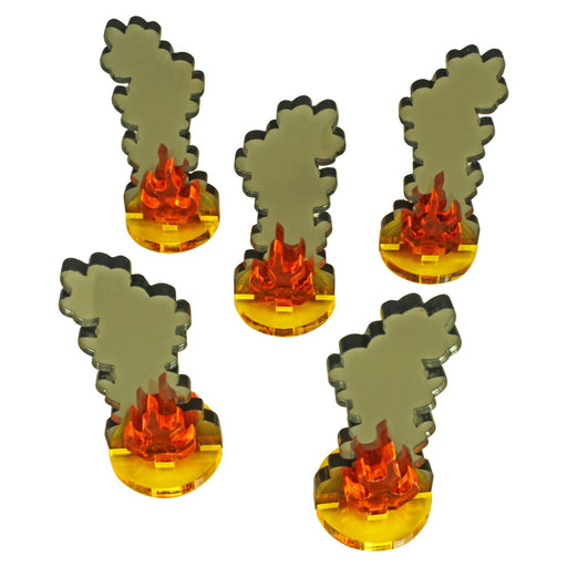 Flaming Wreckage Markers, Medium (5) - LITKO Game Accessories
