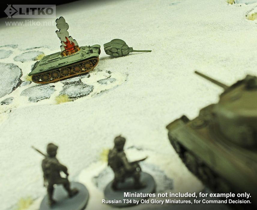 LITKO Flaming Wreckage Markers, Small (7) - LITKO Game Accessories