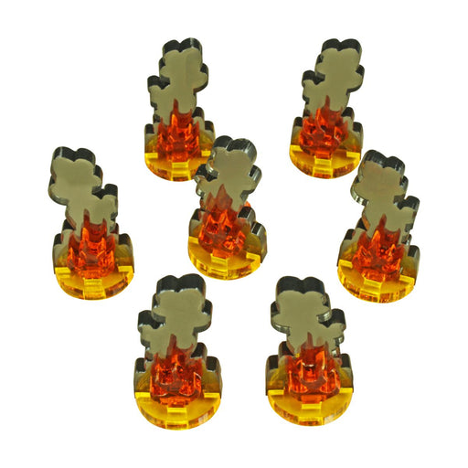 Flaming Wreckage Markers, Small (7) - LITKO Game Accessories