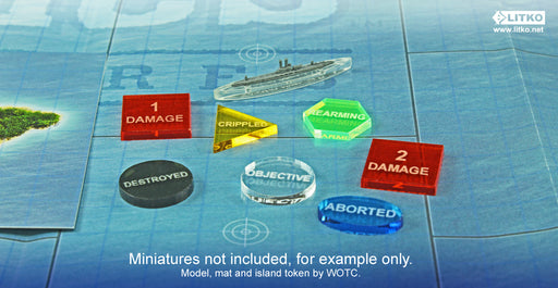 LITKO Upgrade Token Set Compatible with Axis & Allies: War at Sea, Multi-Color (40) - LITKO Game Accessories