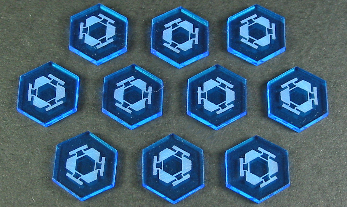 Space Mine Tokens, Fluorescent Blue (10) - LITKO Game Accessories