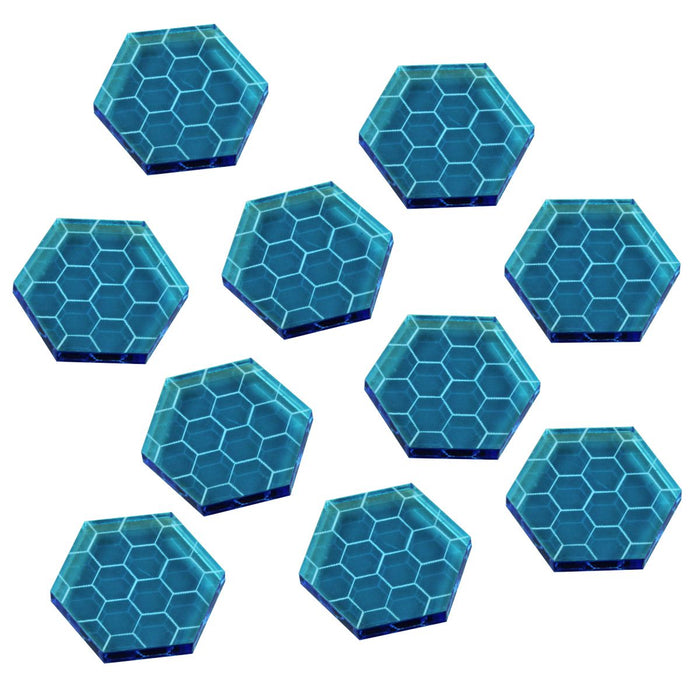 Space Shield Tokens, Fluorescent Blue (10) - LITKO Game Accessories