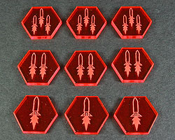 Space Missile Tokens, Fluorescent Amber (9) - LITKO Game Accessories