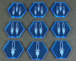 Space Missile Tokens, Fluorescent Blue  (9) - LITKO Game Accessories