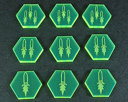 Space Missile Tokens, Fluorescent Green (9) - LITKO Game Accessories