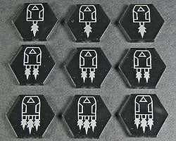 Space Drone Tokens, Translucent Grey (9) - LITKO Game Accessories