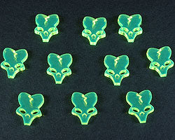 Alien Skull Tokens, Fluorescent Green (10) - LITKO Game Accessories