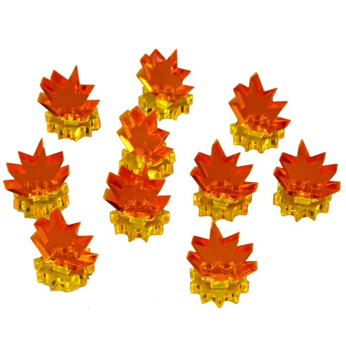 Blast Markers, Mini, Transparent Yellow Base & Fluorescent Amber Flames (10) - LITKO Game Accessories