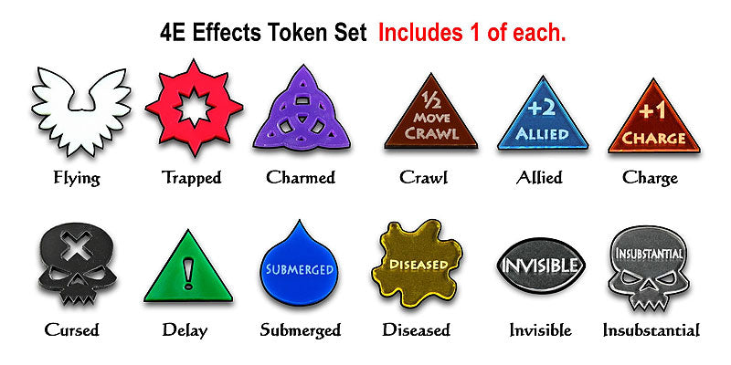 4E Effects Token Set, Multi-Color (12) - LITKO Game Accessories
