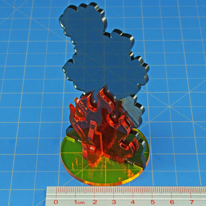 Flaming Wreckage Marker, Extra Large - LITKO Game Accessories