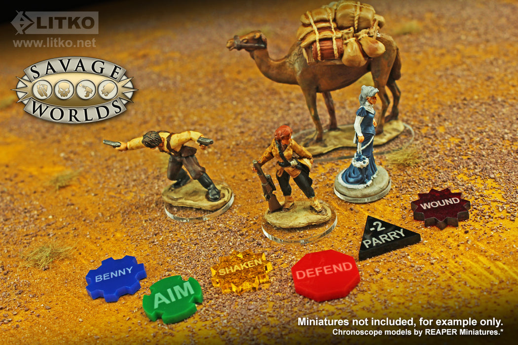 LITKO Token Upgrade Set Compatible With Savage Worlds, Multi-Color (64) - LITKO Game Accessories