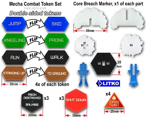 Mecha Combat Token Set (27) - LITKO Game Accessories