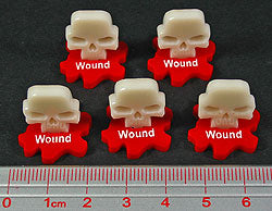 Wound Markers, Ivory & Red (5) - LITKO Game Accessories