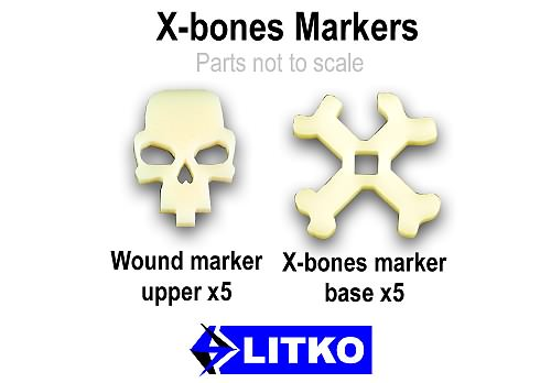Crossbones Markers, Ivory (5) - LITKO Game Accessories