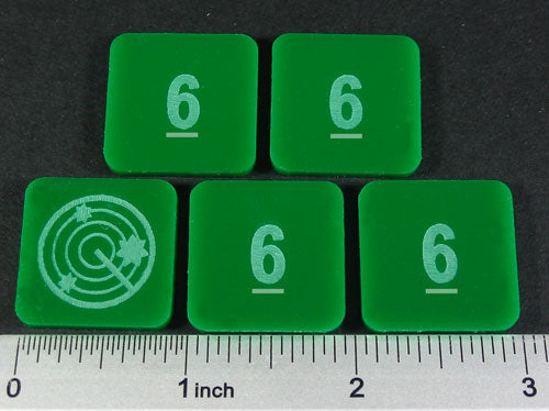 Numbered 6 Blip Set, Green (5) - LITKO Game Accessories