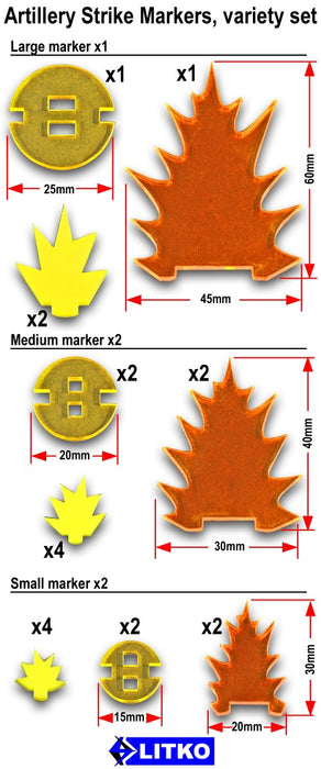 LITKO Artillery Strike Marker, Variety (5) - LITKO Game Accessories