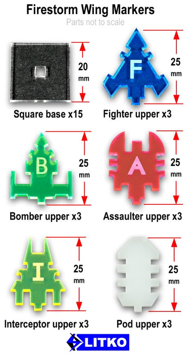 Firestorm Wing Markers, Multi-Color (15) - LITKO Game Accessories