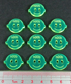 n00b Tokens, Fluorescent Green (10) - LITKO Game Accessories
