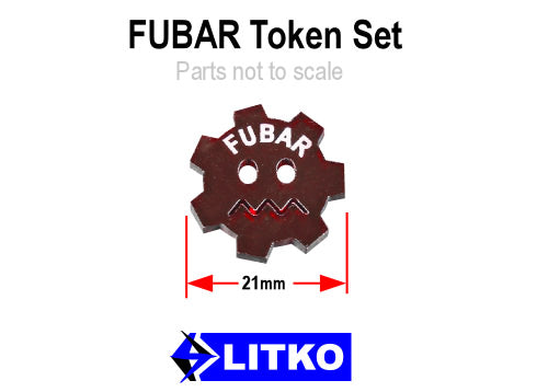 FUBAR Tokens, Translucent Red (10) - LITKO Game Accessories