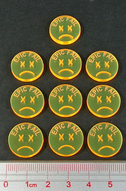 EPIC FAIL Tokens, Fluorescent Yellow (10) - LITKO Game Accessories