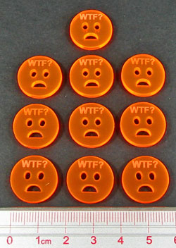 WTF Tokens, Fluorescent Orange (10) - LITKO Game Accessories
