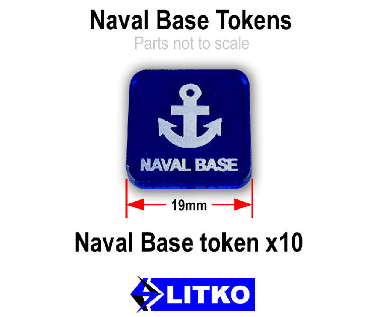 Naval Base Tokens, Translucent Blue (10) - LITKO Game Accessories