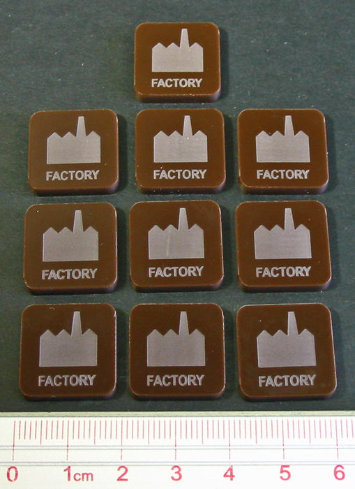 Factory Tokens, Brown (5) - LITKO Game Accessories