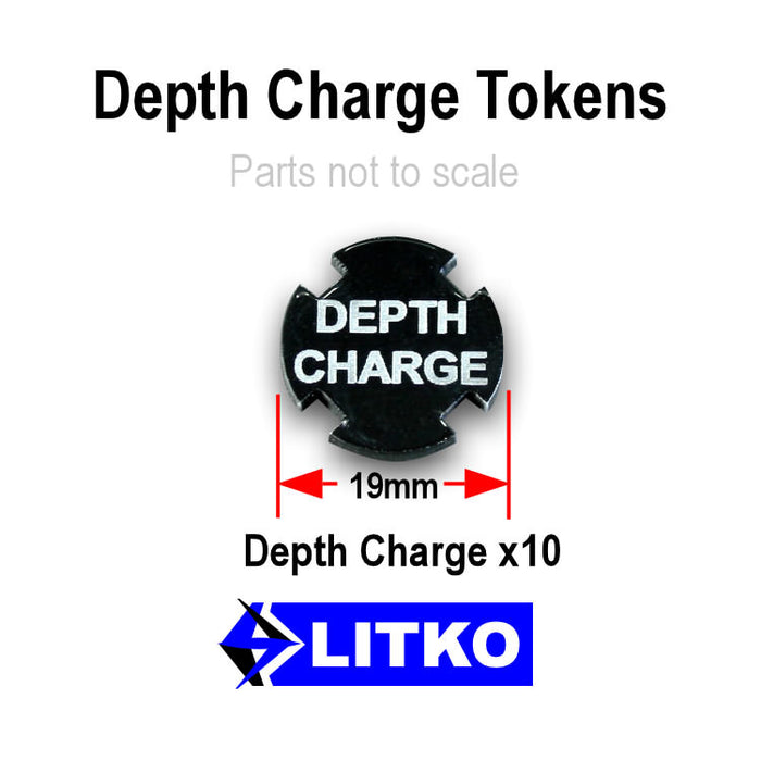Depth Charge Tokens, Black (10) - LITKO Game Accessories