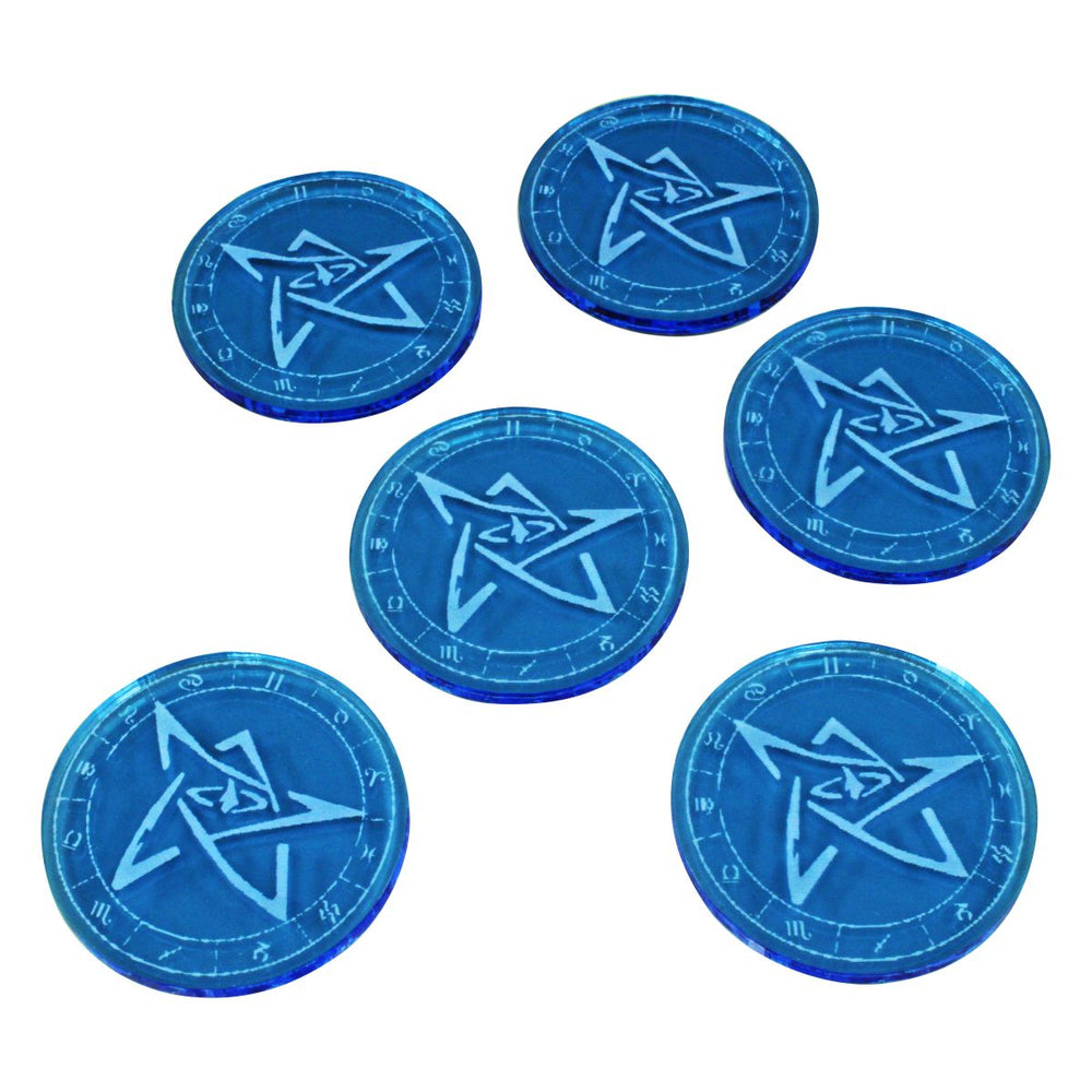 Sealed Gate Tokens, Fluorescent Blue (6) - LITKO Game Accessories