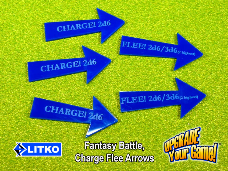 Fantasy Battle Charge Flee Arrows, Blue (5) - LITKO Game Accessories