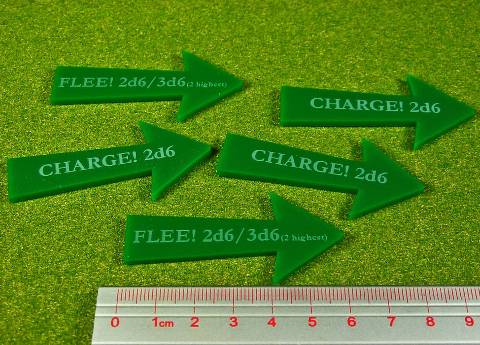 Fantasy Battle: Charge Flee Arrows, Green (5) - LITKO Game Accessories