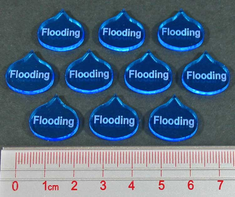 Flooding Tokens, Fluorescent Blue (10) - LITKO Game Accessories