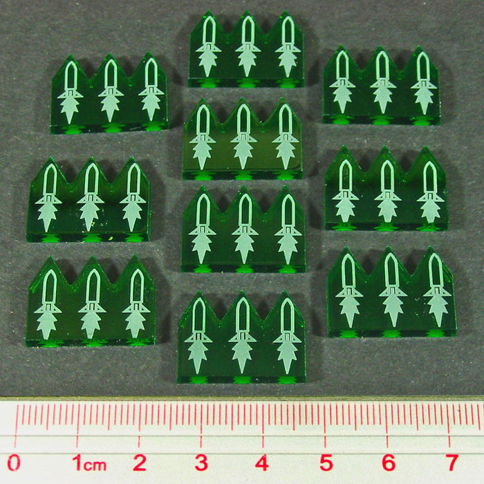 Gothic Space Missiles, Translucent Green (10) - LITKO Game Accessories
