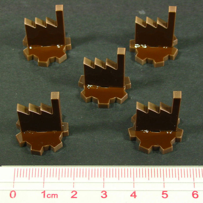 Factory Markers, Brown (5) - LITKO Game Accessories