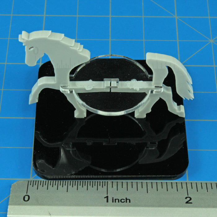 Horse Character Mount with 2 inch Square Base, Grey - LITKO Game Accessories