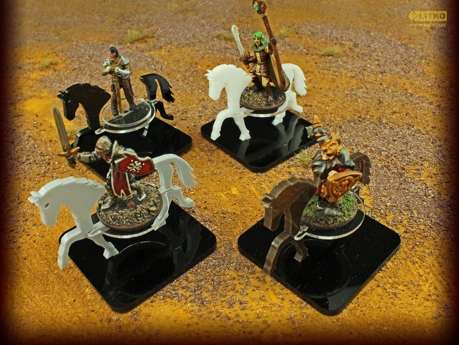 Warhorse Character Mount with 2-inch Square Base, White - LITKO Game Accessories